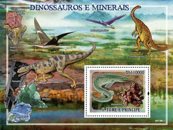 Dinosaurs & Minerals - Issue of Sao Tome and Principe postage stamps