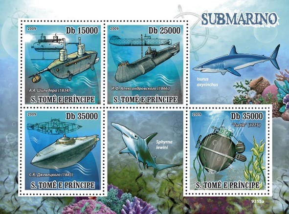 Submarines (Sharks) - Issue of Sao Tome and Principe postage stamps