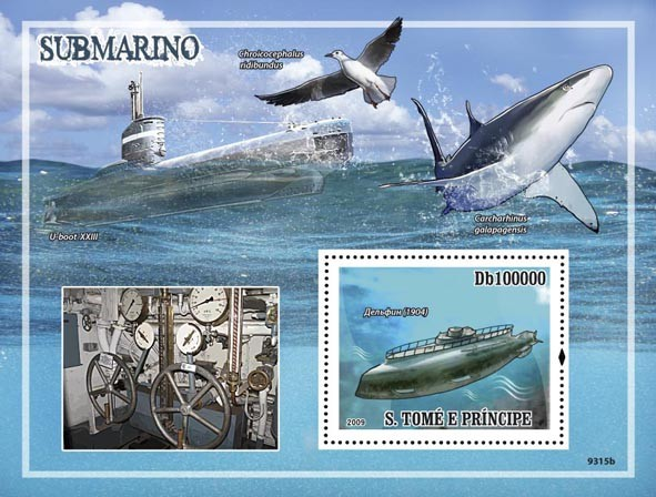 Submarines (Sharks, Bird) - Issue of Sao Tome and Principe postage stamps