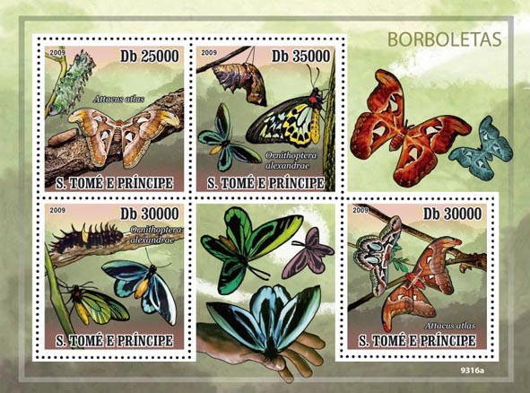 The Worlds largest Butterflies - Issue of Sao Tome and Principe postage stamps