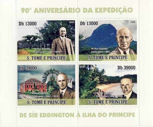 Sir Arthur Stanley Eddington (1882-1944) expeditor of Sao Tome & Principe island - Issue of Sao Tome and Principe postage stamps