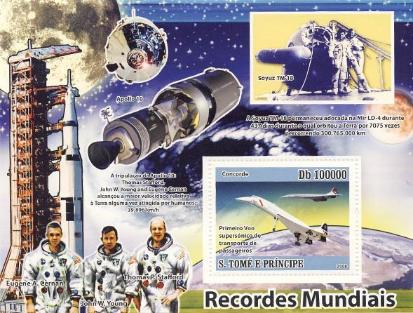 Issues of 2008 year  Space-Concorde - Issue of Sao Tome and Principe postage stamps