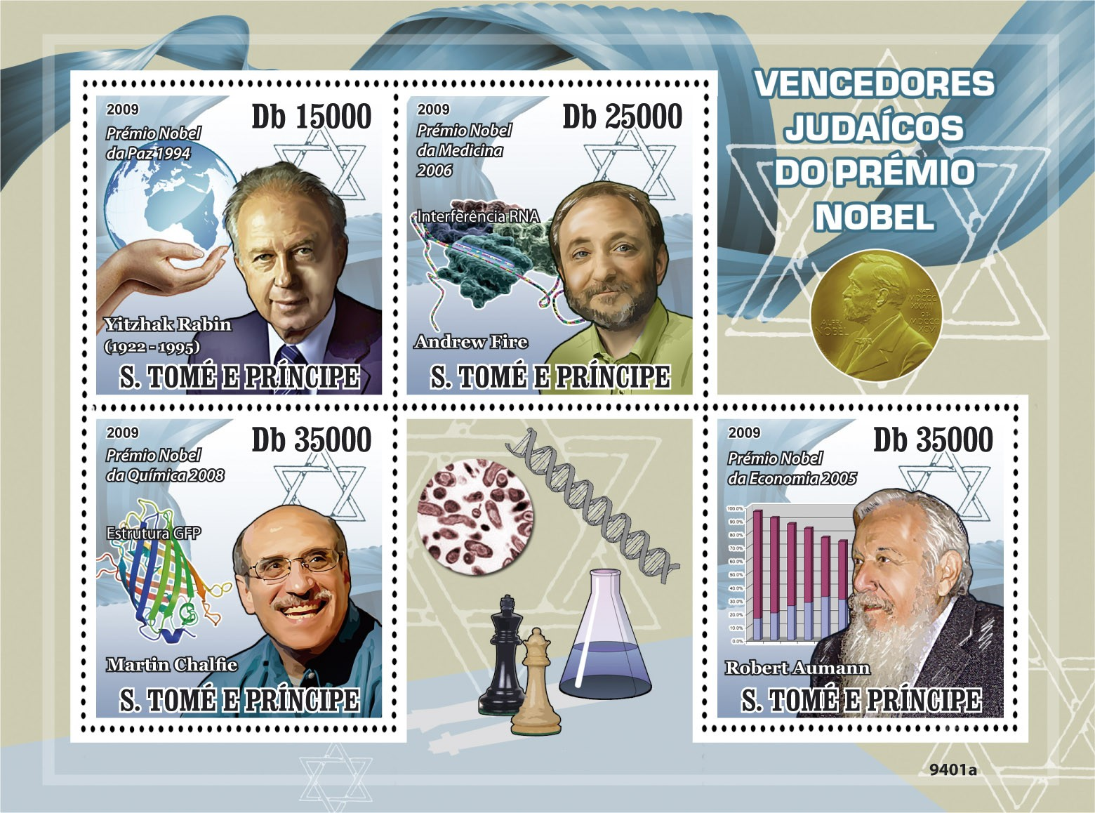 Jewish Nobel Prize Laureate - Issue of Sao Tome and Principe postage stamps