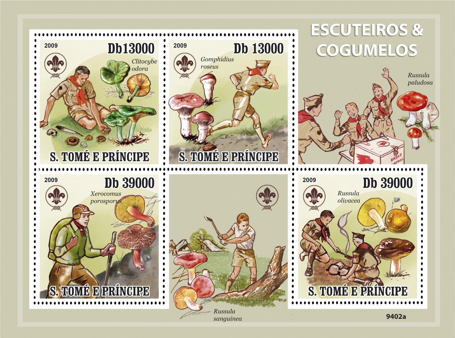 Scouts & Mushrooms - Issue of Sao Tome and Principe postage stamps
