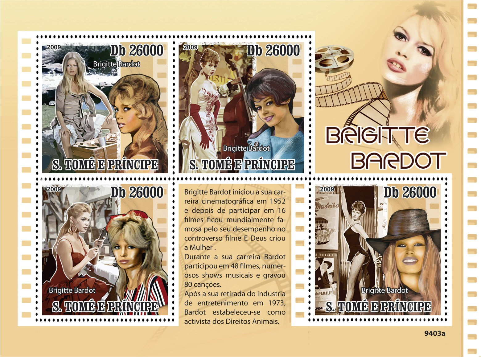 Famous actress - Brigite Bardot - Issue of Sao Tome and Principe postage stamps