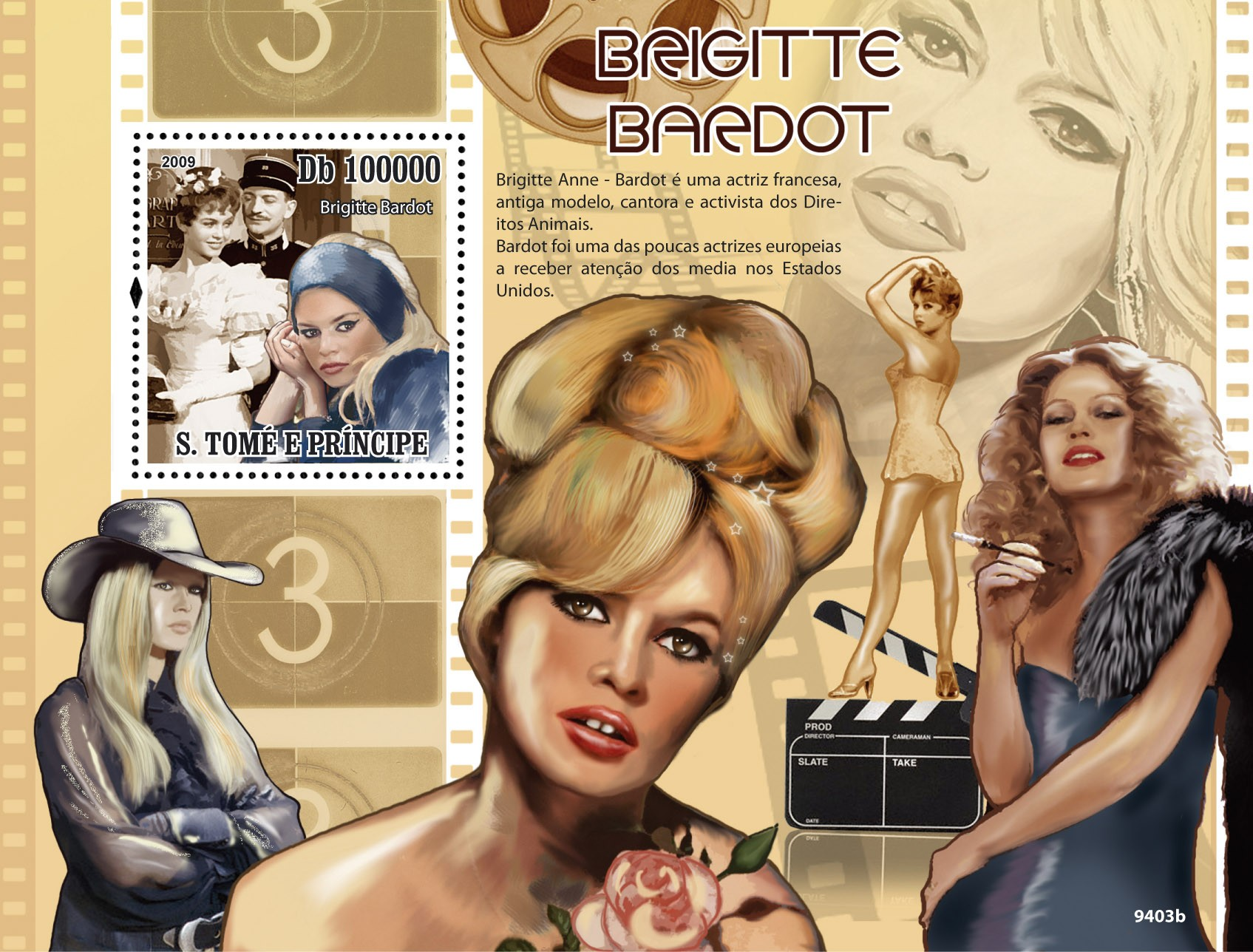 Famous actress Brigite Bardot - Issue of Sao Tome and Principe postage stamps