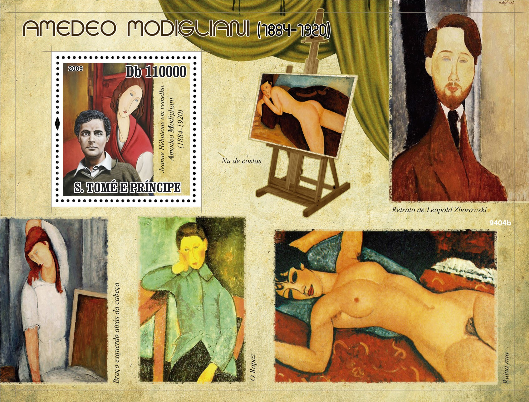Painter  Amadeo Modigliani (1884-1920) - Issue of Sao Tome and Principe postage stamps