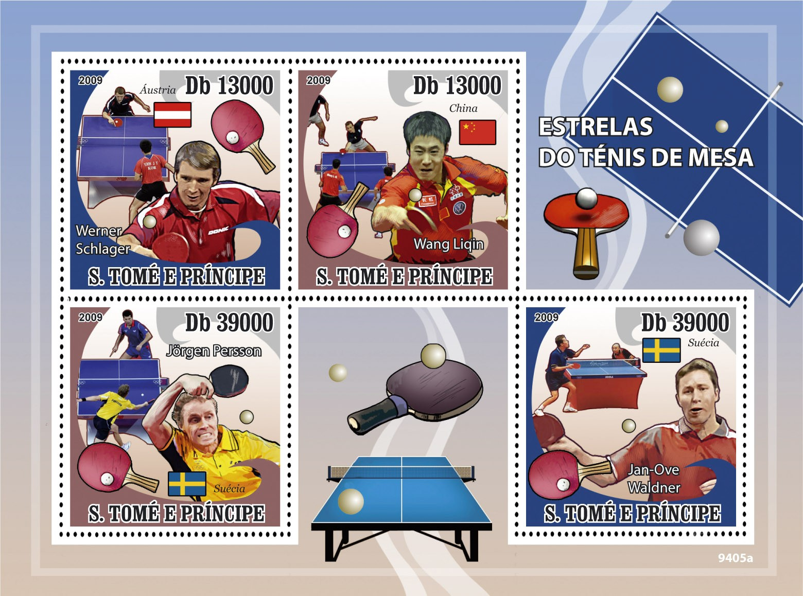 Ping Pong Stars  W.Schlager, W.Liqin, J.Persson, J.O.Waldner - Issue of Sao Tome and Principe postage stamps