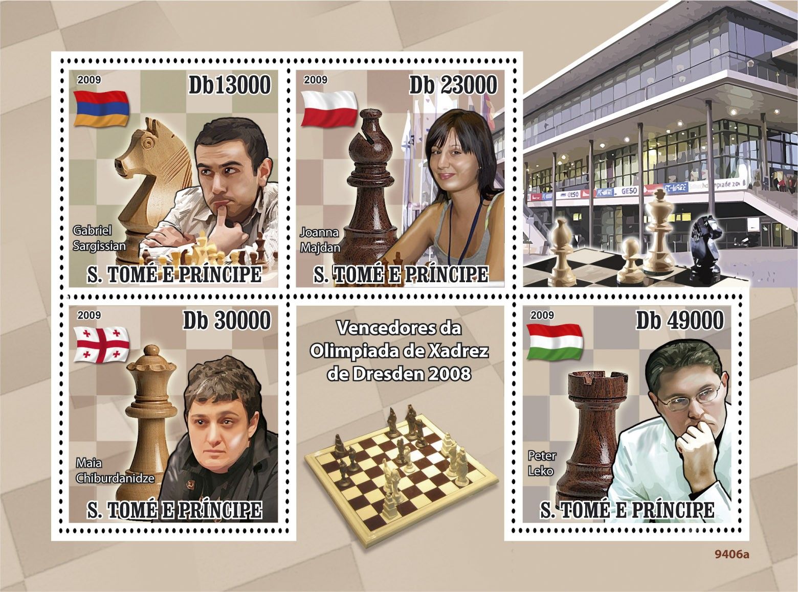 Winners of Dresden Chess Olympiad 2008  G.Sargissian, J.Majdan, M.Chiburdanidze, P.Leko - Issue of Sao Tome and Principe postage stamps