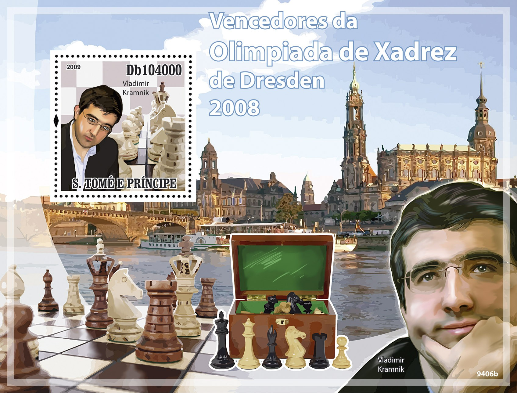 Winners of Dresden Chess Olympiad 2008 -Vladimir Kramnik - Issue of Sao Tome and Principe postage stamps