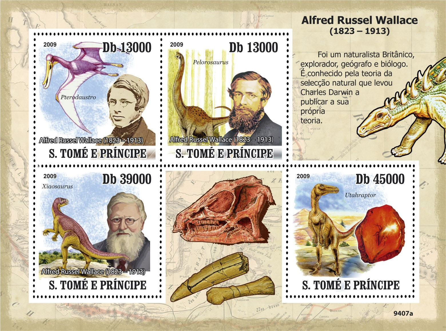 Dinozaurs , Alfred Russel Wallace ( 1823-1913 ) - Issue of Sao Tome and Principe postage stamps