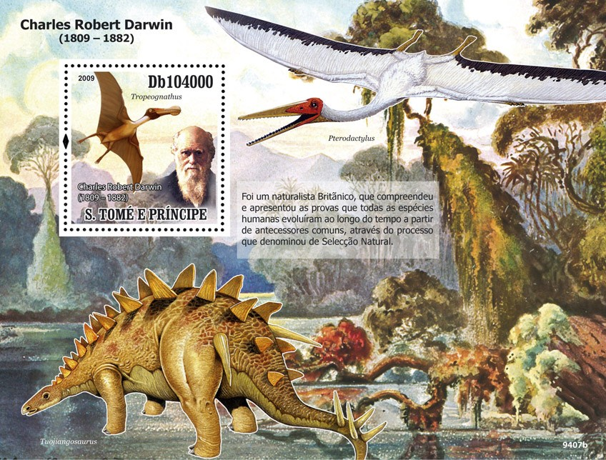 Dinozaurs , Charles Robert Darwin ( 1809-1882 ) - Issue of Sao Tome and Principe postage stamps