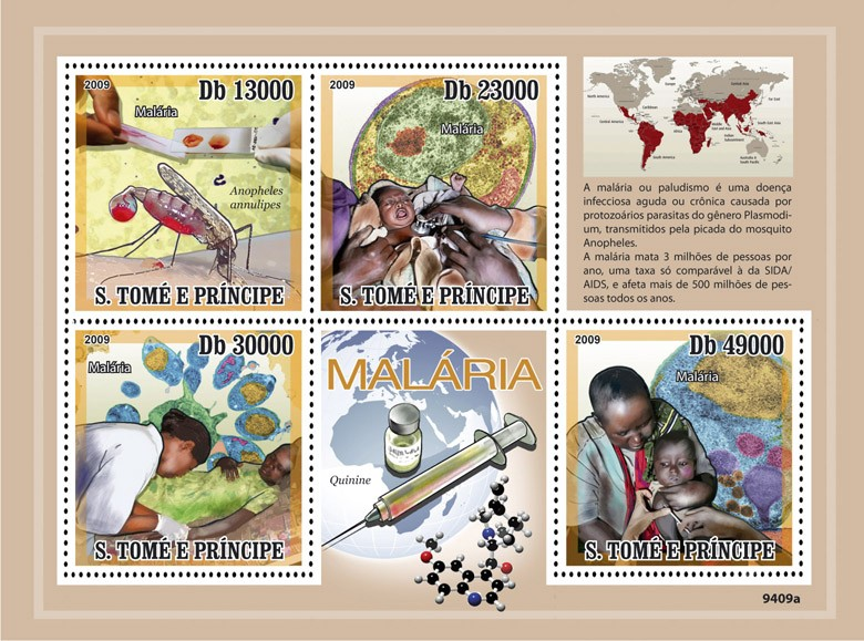 Malaria - Issue of Sao Tome and Principe postage stamps