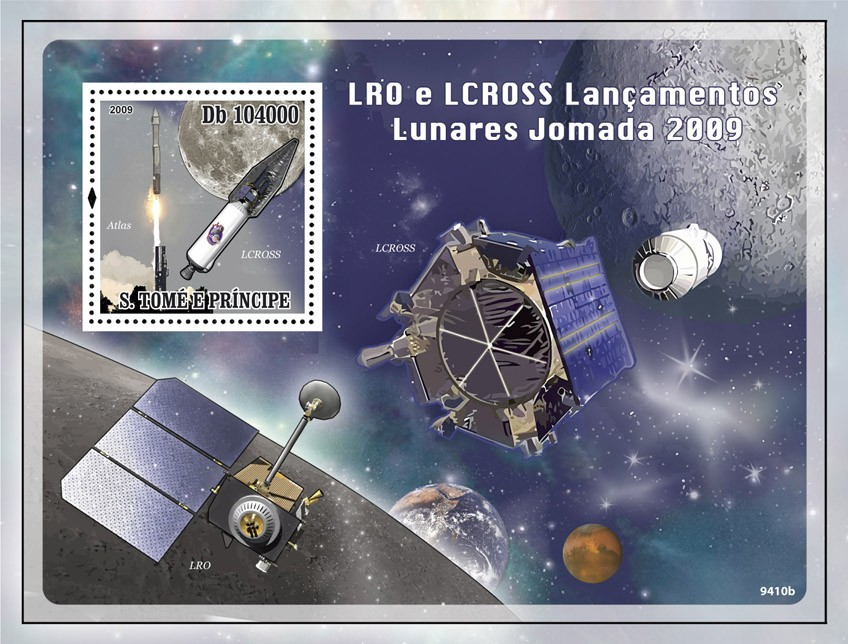 Space  LRO and LCROSS Launch on Lunar Journey 2009 - Issue of Sao Tome and Principe postage stamps