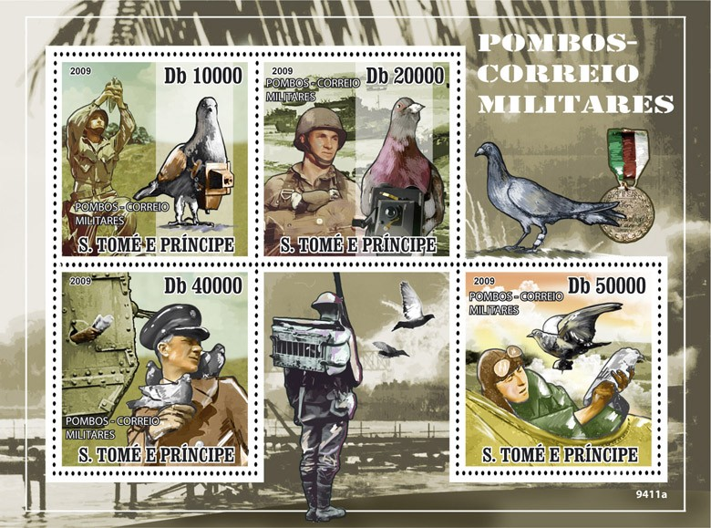 War Pigeons - Issue of Sao Tome and Principe postage stamps