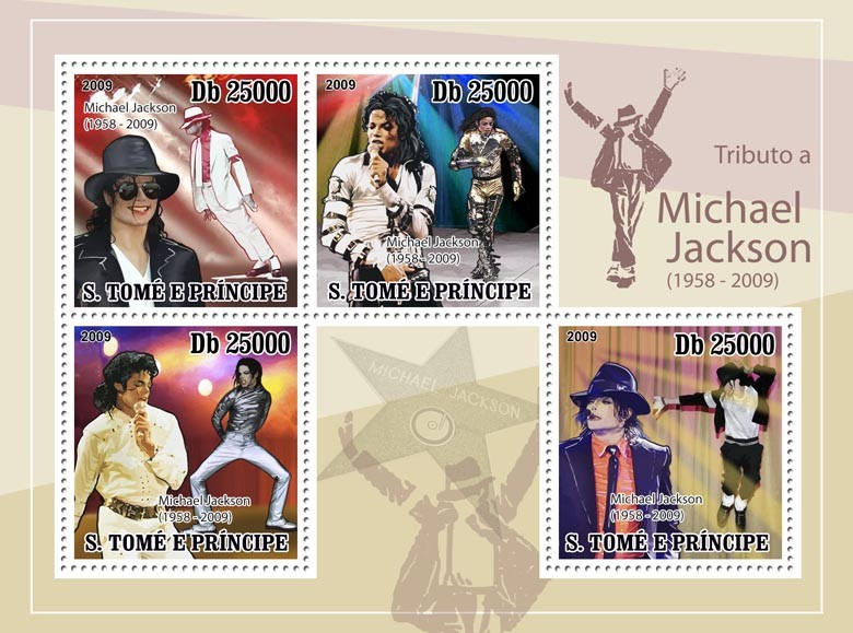 Michael Jackson 4v - Issue of Sao Tome and Principe postage stamps