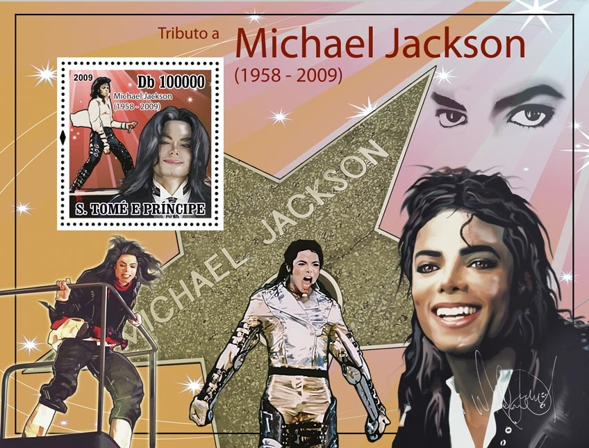 Michael Jackson s/s - Issue of Sao Tome and Principe postage stamps