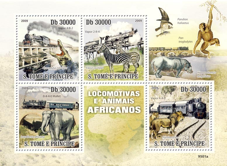 Trains & Animals of Africa - Issue of Sao Tome and Principe postage stamps