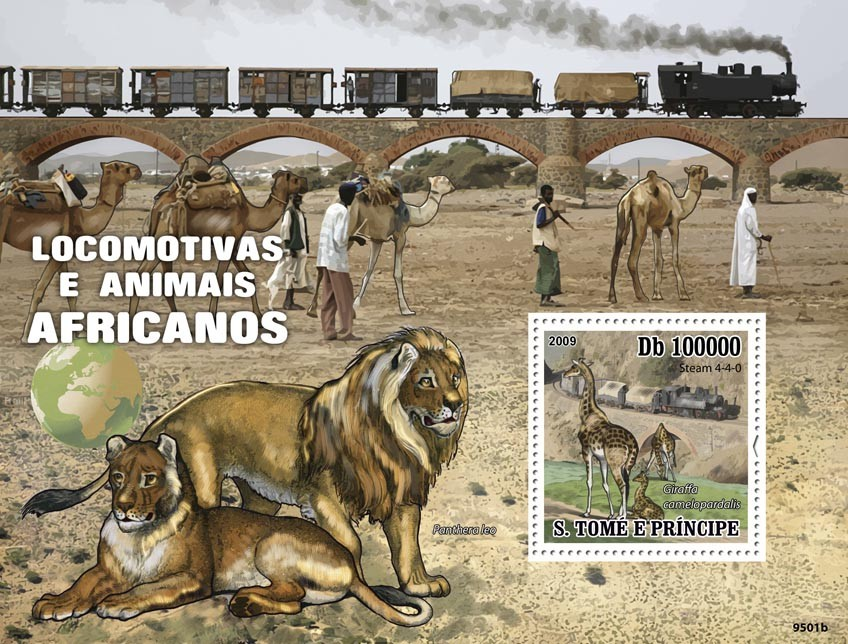 Trains of Africa Animals - Issue of Sao Tome and Principe postage stamps