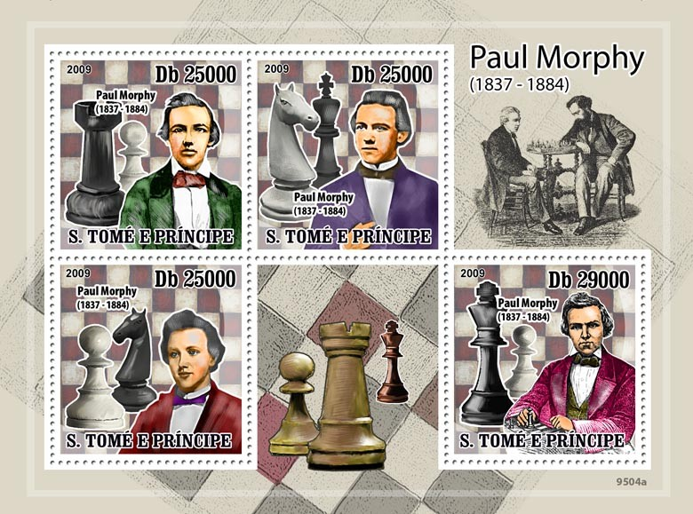 Chess  Paul Morphy ( 1837-1884 ) - Issue of Sao Tome and Principe postage stamps
