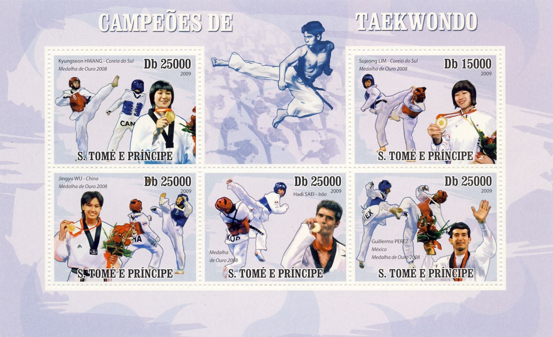 Taekwondo - Issue of Sao Tome and Principe postage stamps