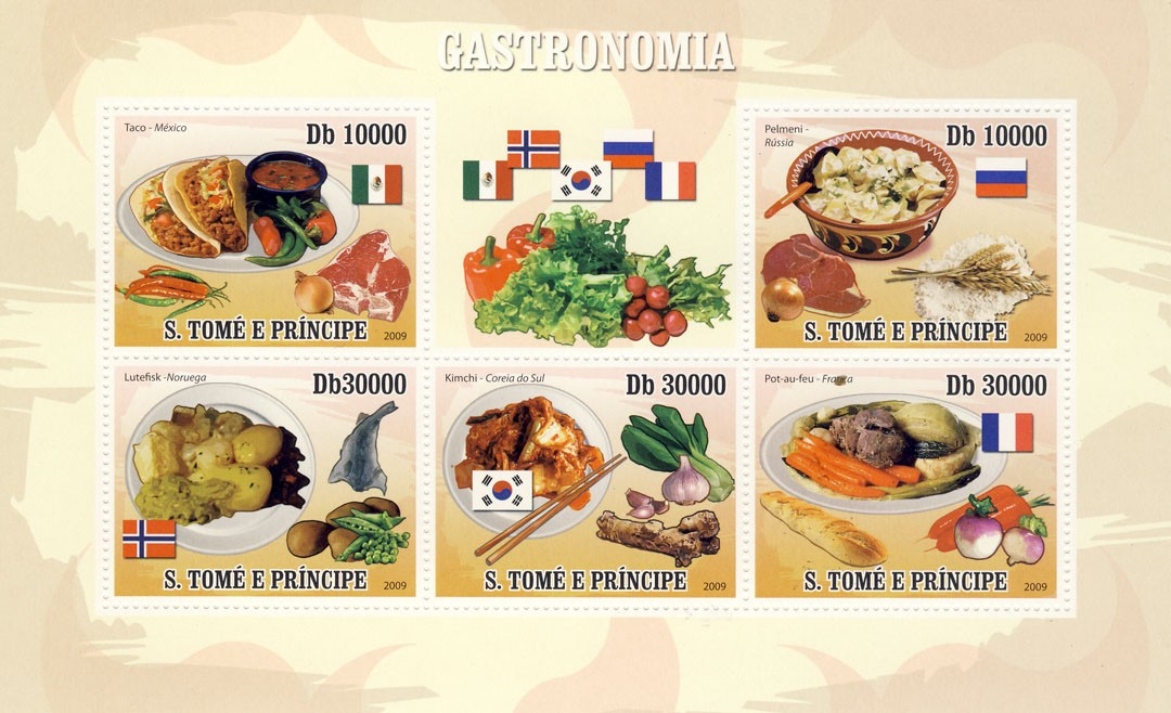 Gastronomic of World - National dishes - Issue of Sao Tome and Principe postage stamps