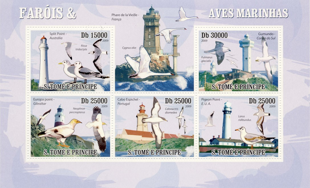 Lighthouses & Birds of sea - Issue of Sao Tome and Principe postage stamps