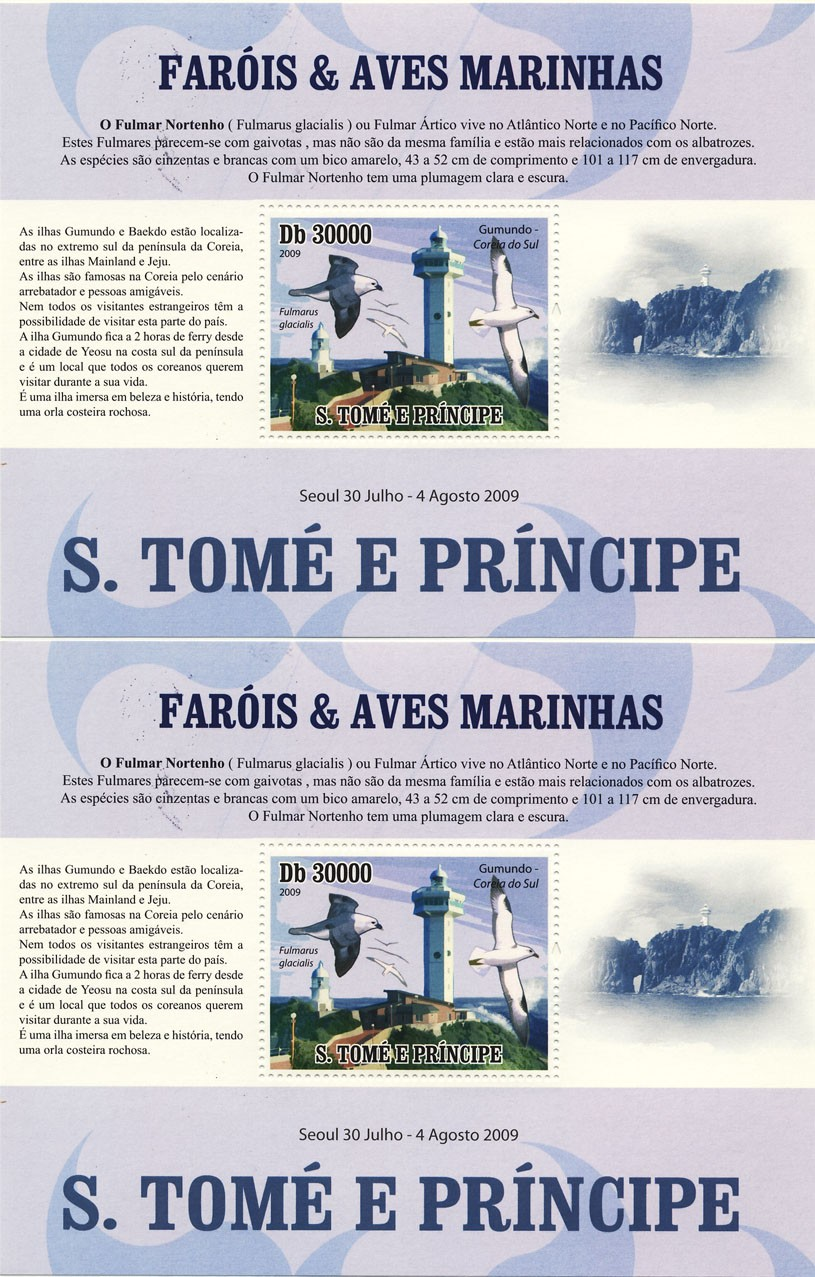 Lighthouses & Birds of sea  / English s/s and Portuguese s/s - Issue of Sao Tome and Principe postage stamps