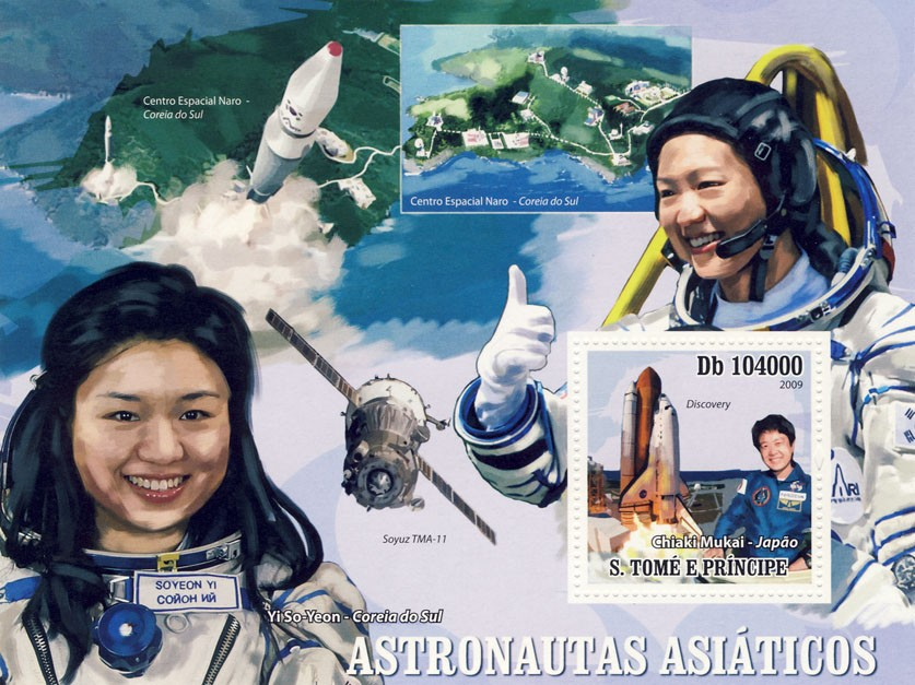 Asian Astronauts, Space - Issue of Sao Tome and Principe postage stamps
