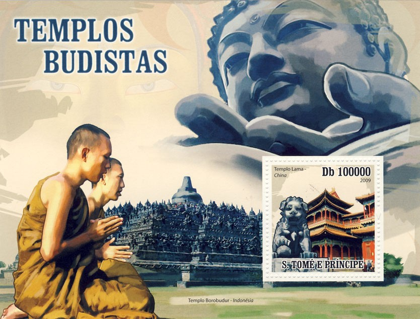 Buddhist Temples - Issue of Sao Tome and Principe postage stamps
