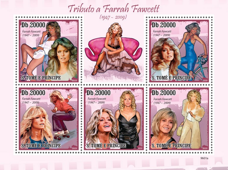Famous actress - Farrah Fawcett ( 1947-2009 ) - Issue of Sao Tome and Principe postage stamps
