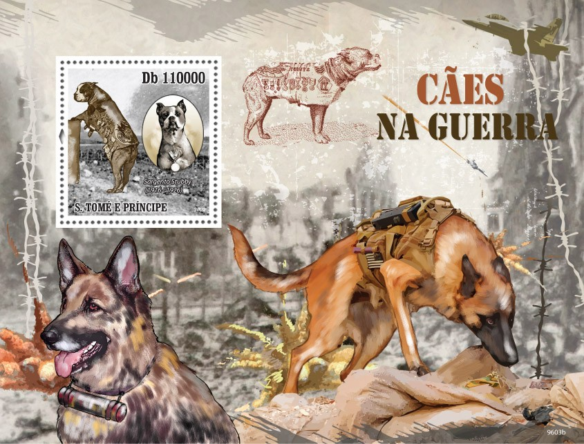 Dogs in the War - Issue of Sao Tome and Principe postage stamps