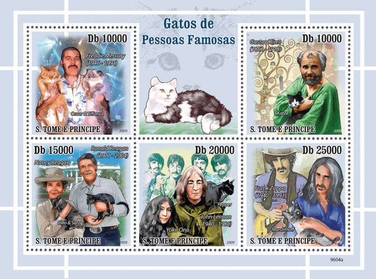 Cats and their masters ( Freddie Mercury, Gustav Klimt, Roland Reagan, John Lennon, Frank Zappa ) - Issue of Sao Tome and Principe postage stamps