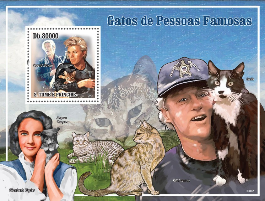 Cats and their masters ( David Bowie, Bill Clinton, Elizabeth Taylor ) - Issue of Sao Tome and Principe postage stamps