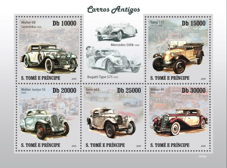 Ancient cars - Issue of Sao Tome and Principe postage stamps