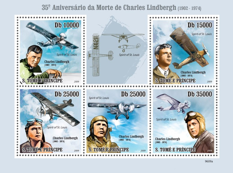 Aircraft  Anniversary of Charles Lindberg ( 1902-1974 ) - Issue of Sao Tome and Principe postage stamps