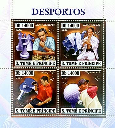 Sport players (G.Kasparov, W.H.Lee, W.Ligin, T.Woods) 4v x 14000 - Issue of Sao Tome and Principe postage stamps