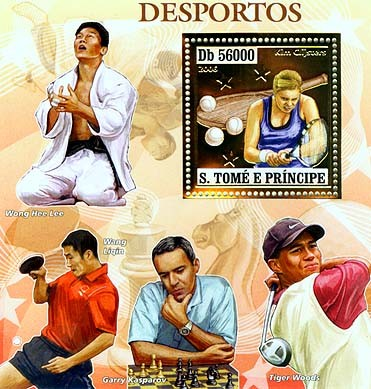 Sport players (G.Kasparov, W.H.Lee, W.Ligin, T.Woods) S/s 56000 - Issue of Sao Tome and Principe postage stamps