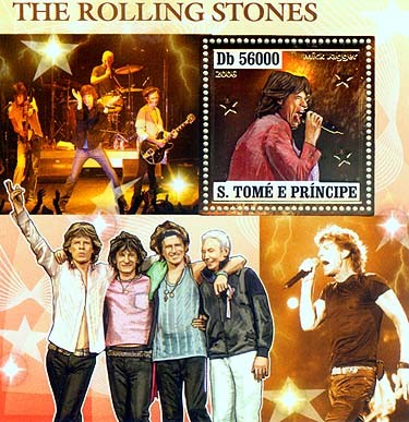 The Rolling stones  S/s 56000 - Issue of Sao Tome and Principe postage stamps