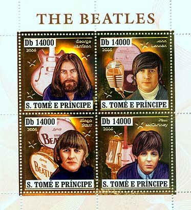 The Beatles, music instruments 4v x 14000 - Issue of Sao Tome and Principe postage stamps