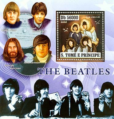 The Beatles, music instruments S/s 56000 - Issue of Sao Tome and Principe postage stamps