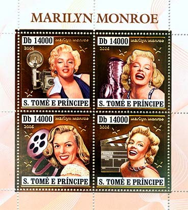 Marilyn Monroe 4v x 14000 1647 - Issue of Sao Tome and Principe postage stamps