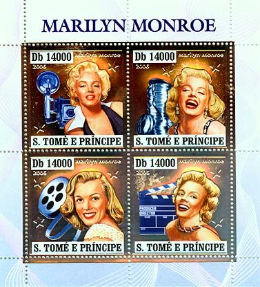 Marilyn Monroe 4v x 14000 - Issue of Sao Tome and Principe postage stamps