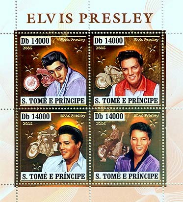 Elvis Presley, motorbikes  4v x 14000 - Issue of Sao Tome and Principe postage stamps