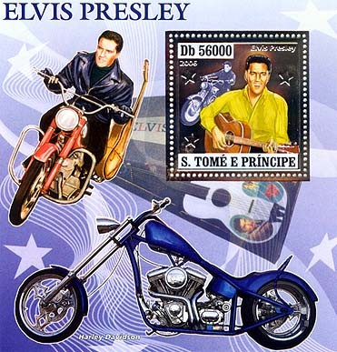 Elvis Presley, motorbikes  S/s 56000 - Issue of Sao Tome and Principe postage stamps