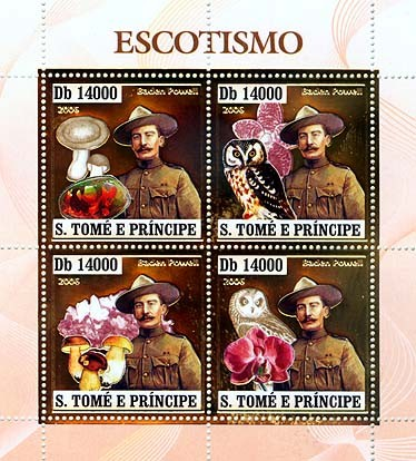 Scouts (B.Powell, owls, mushrooms, orchids, minerals)  4v x 14000 - Issue of Sao Tome and Principe postage stamps