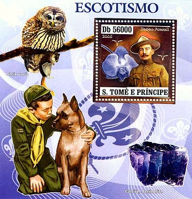 Scouts (B.Powell, owls, mushrooms, orchids, minerals)  S/s 56000 - Issue of Sao Tome and Principe postage stamps