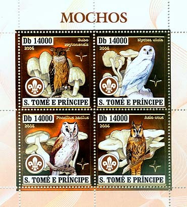 Owls, mushrooms, scouts  4v x 14000 - Issue of Sao Tome and Principe postage stamps