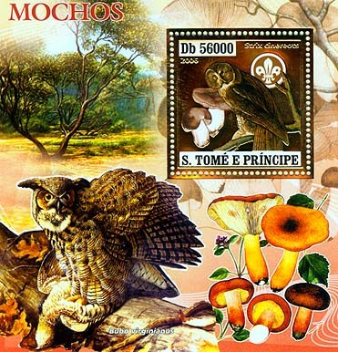 Owls, mushrooms, scouts  S/s 56000 - Issue of Sao Tome and Principe postage stamps