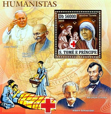Humanists (Pope, A.Lincoln, A.Schweitzer,Gandi) S/s 56000 - Issue of Sao Tome and Principe postage stamps